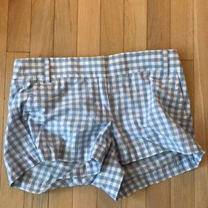 Checkered blue and white shorts-jcrew